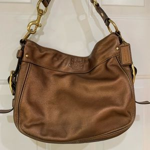 COACH Copper Metallic Smooth Leather Shoulder Bag